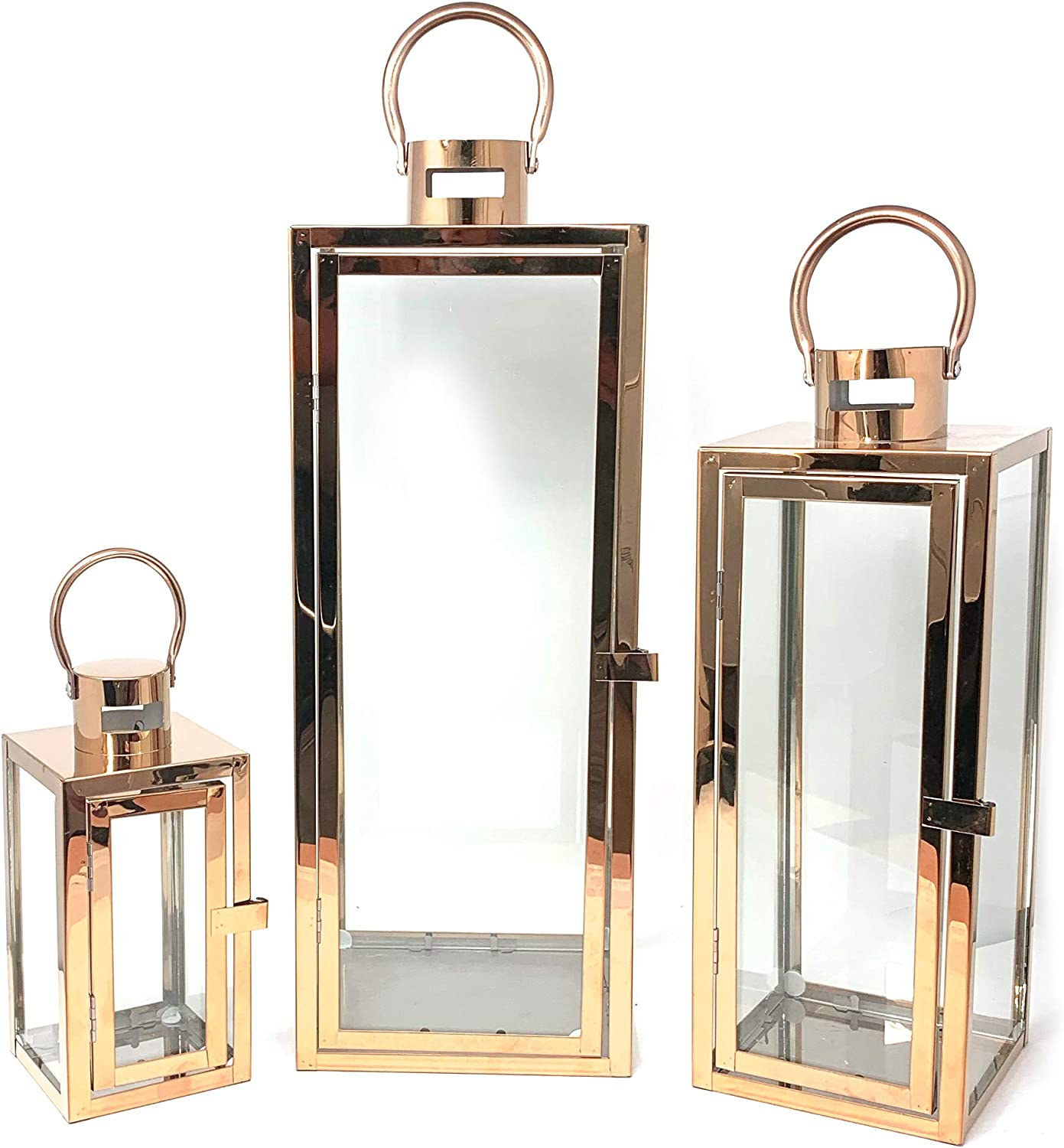 allgala 3-PC Set Jumbo Luxury Modern Indoor/Outdoor Hurricane Candle Lantern Set with Chrome Plated Structure and Tempered Glass-Cuboid Rose Gold-HD88014