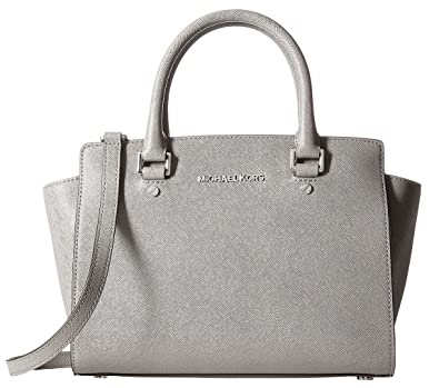 18822832a346 MICHAEL Michael Kors Selma Medium Satchel (Pearl Grey/Silver): Handbags:  Amazon.com