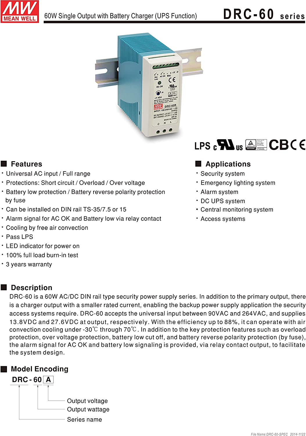UPS Function MEAN WELL DRC-60A 13.8V 2.8A 1.5A 59.34W Single Output with Battery Charger Security Series
