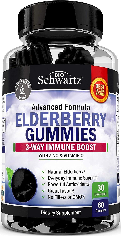 Natural Sambucus Elderberry Gummies - 3-Way Immune Support with 100% Vitamin C & Zinc - Powerful Daily Vegan Herbal Gummy Supplement with Antioxidant Formula - 60 Gummies