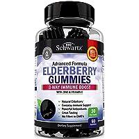 Natural Sambucus Elderberry Gummies - 3-Way Immune Support with 100% Vitamin C &...