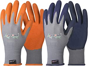 SEUROINT Gardening Gloves Eco Nitrile Coated Working-Gloves, Waterproof Outdoor Garden Gloves Kinitted Breathable Protective Gloves for Women & Men 4 Pairs