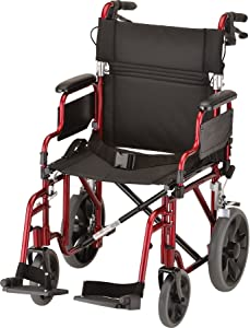 """NOVA Lightweight Transport Chair with Locking Hand Brakes, 12"""" Rear Wheels, Removable & Flip Up Arms for Easy Transfer, Anti-Tippers Included, Red"""