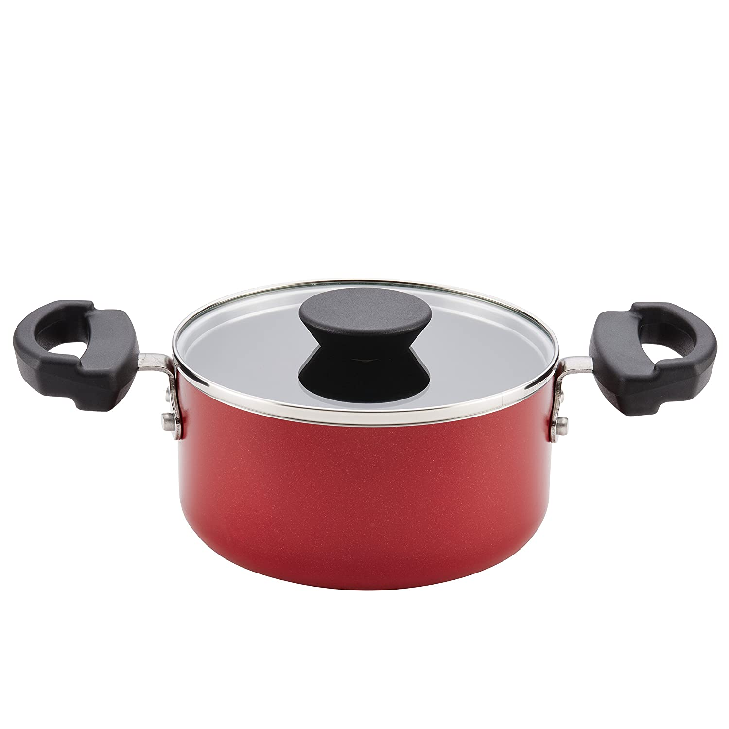 Farberware Neat Nest Space Saving 1.5-Quart Covered Saucepot with Lid, Red