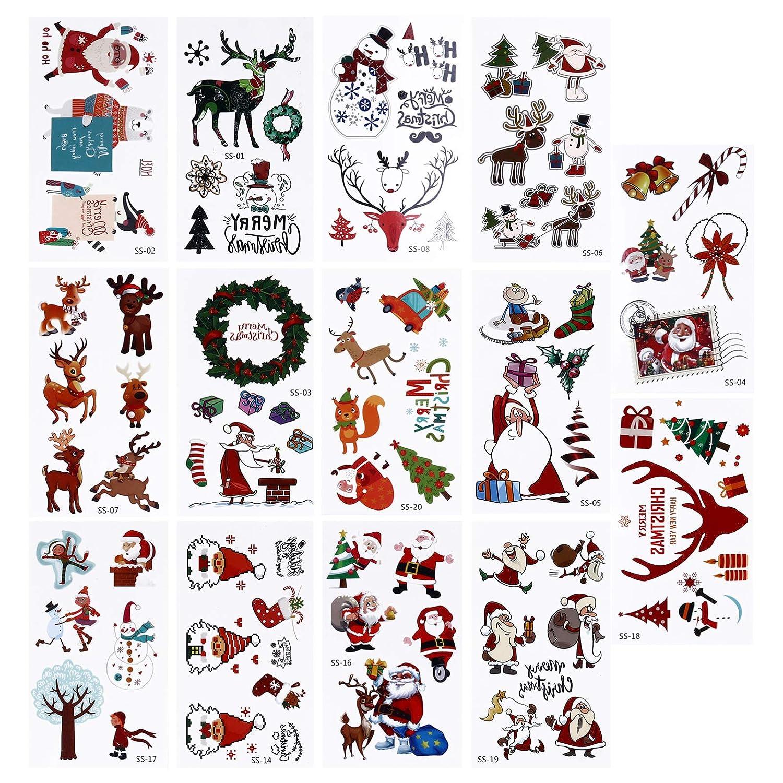 Minkissy 30sheets Christmas Face Tattoo Sticker Temporary Kids Cartoon Christmas Makeup Tattoo Sticker Xmas Tree Santa Reindeer Snowman Tattoo Decal for Christmas Party Giveways