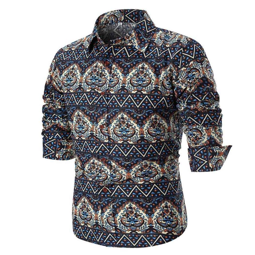 OWMEOT Mens Premium Casual Inner Contrast Dress Shirt (Multicolor B, 2XL) by OWMEOT
