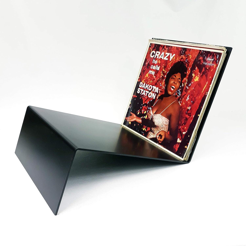 Bois Massif avec Design Haut de Gamme Stockage et Affiche jusqu/à 40 Albums de 30,5 cm Large Crate Steel Rangement de disques en Vinyle