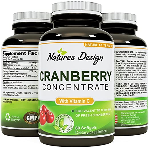 Cranberry Concentrate Pills – Urinary Tract Health Support & Kidney Cleanse with Proanthocyanidins – Pure Antioxidant Blend With Immune Support Vitamin C – Polyphenols – Supplement For Women And Men