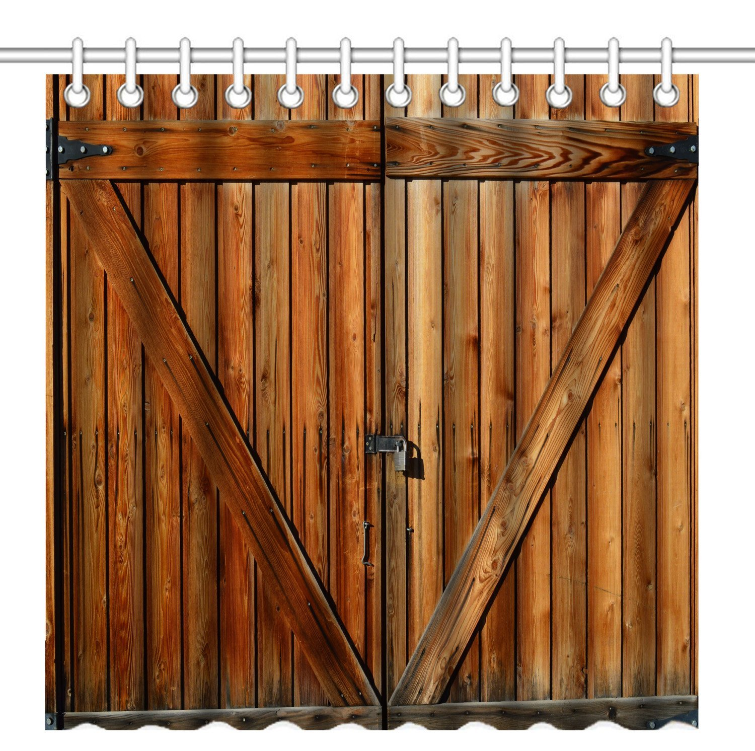 Wknoon 72 x 72 Inch Shower Curtain Set, Vintage Rustic Fence Gate Wood Farm Door