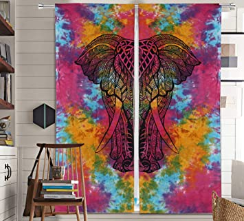 Starburst Moon Hippie Window Valances Room Door Wall Mandala Tapestries Curtains