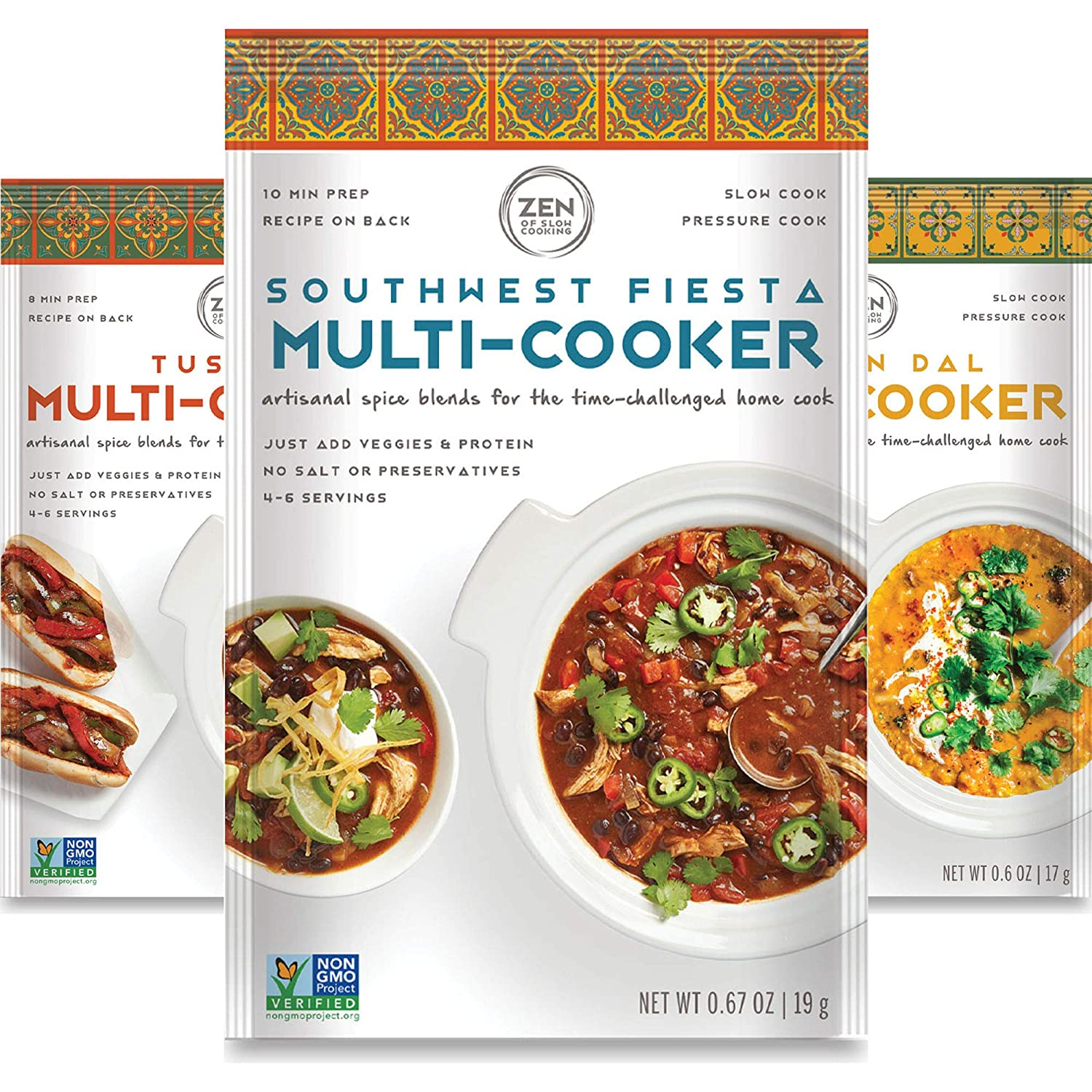 Chefs Collection Gourmet Spice Blends for Home Cooking (Pack of 6) Seasoning Pack For Instant Pot, Crock pot, Slow Cooker, and One Pot Meals - Non GMO, Low/No Salt, Gluten Free, Keto Friendly, Paleo