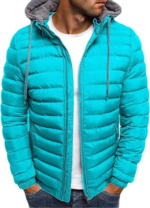 WSPLYSPJY Mens Casual Quilted Down Puffer Coat Hooded Outwear Long Jacket