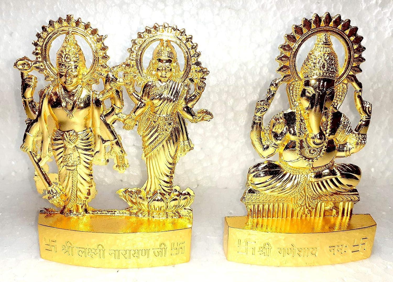 2 Pic Golden MATA Laxmi ji & Vishnu Ji Ganesh ji Idol God of Love Playing Flute for Home Décor Living Room Metal Statue Temple Gift Item Gold Polish