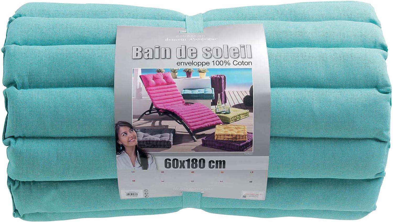 BAIN DE SOLEIL 60 x 180 CM COTON UNI PACIFIQUE MENTHE