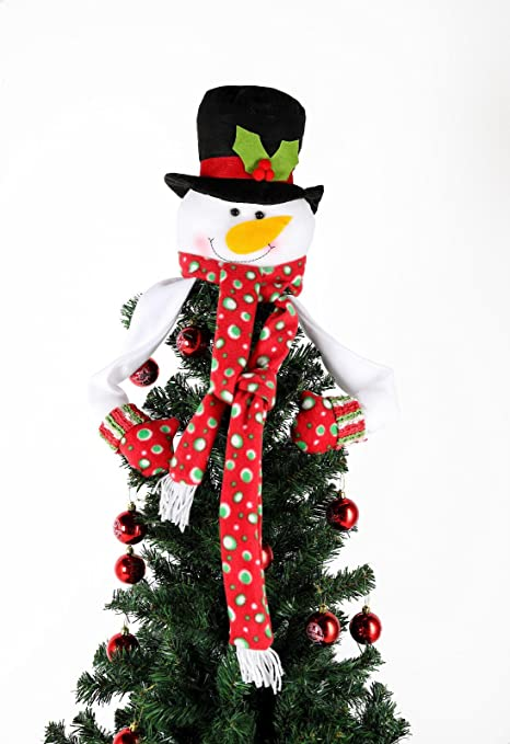 snowman christmas tree topper fleece smily snowman christmas tree decoration
