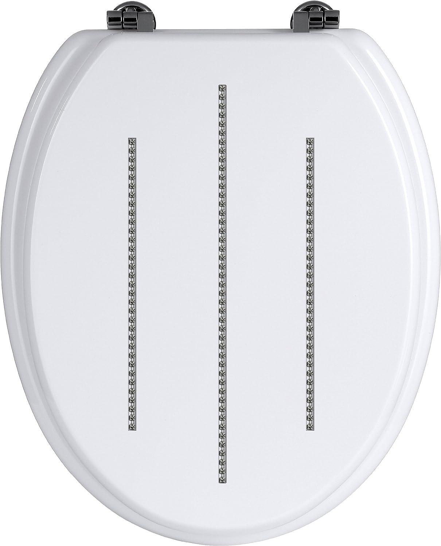 Raccords Alliage Zinc Noir Premier Housewares 1604097 Abattant de Toilette Siege WC D/étail Diamante