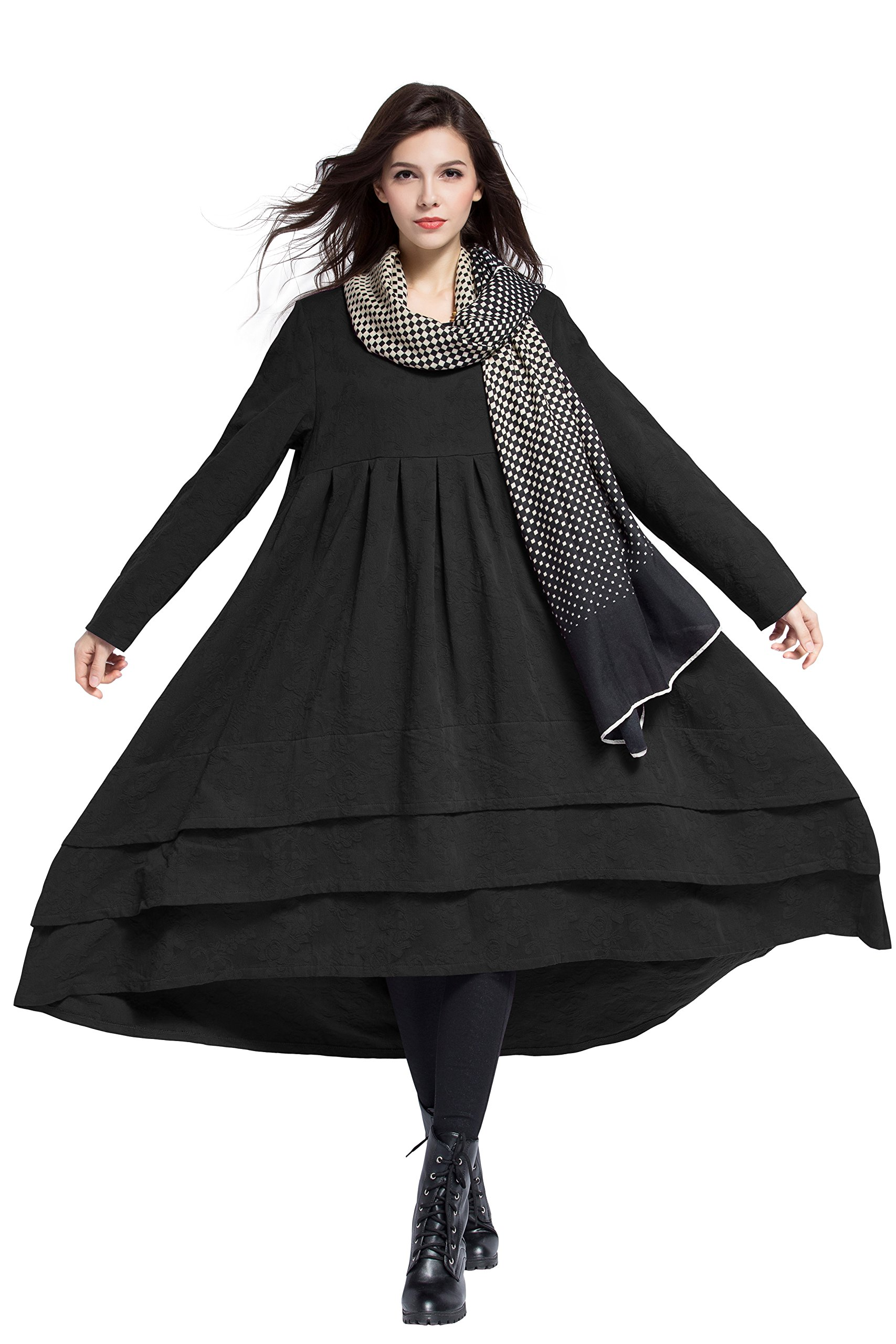 Anysize Jacquard Soft Linen&Cotton Dress Spring Winter Plus Size Dress Y312