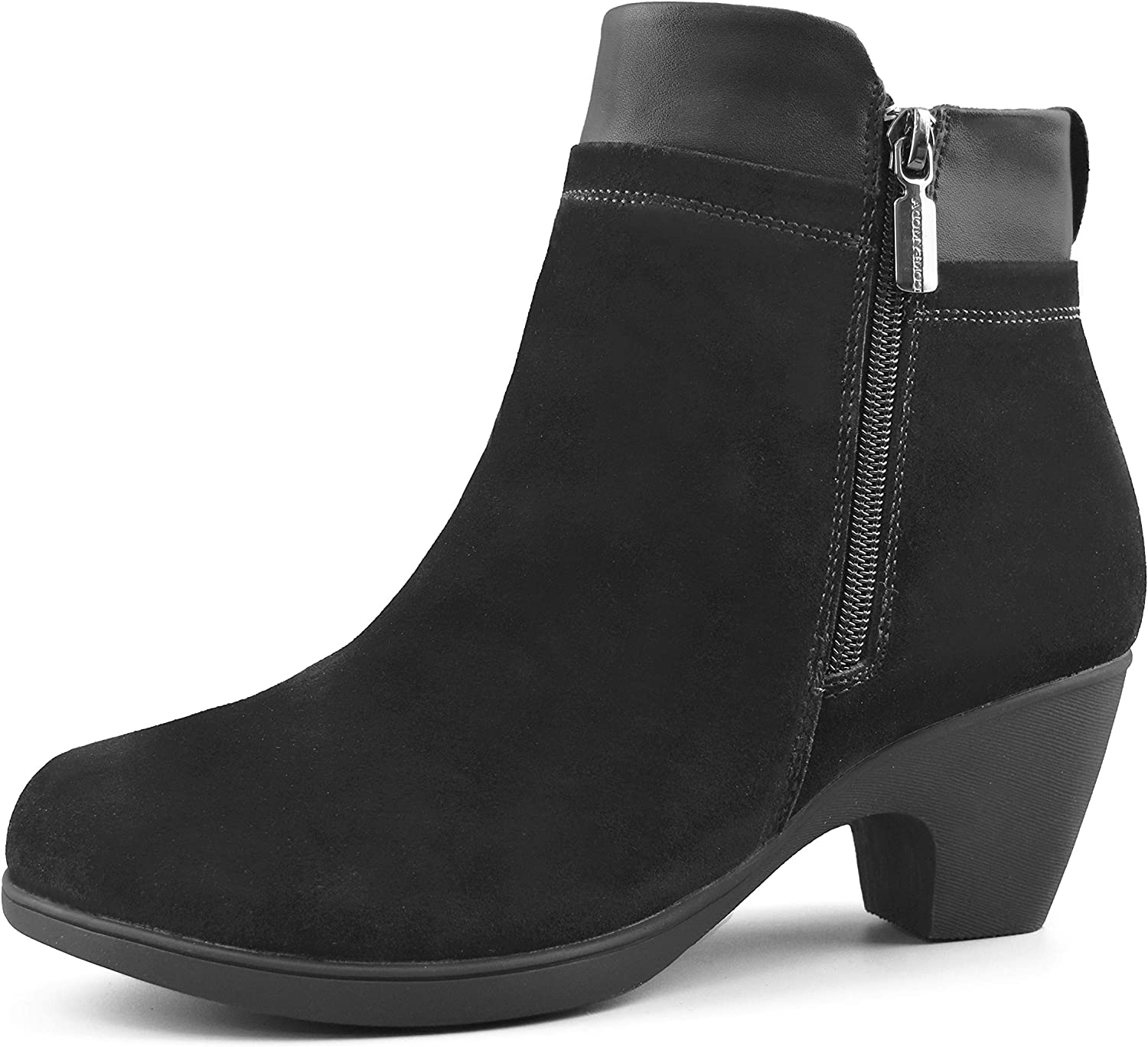 Comfy Moda Women's Winter Boots | Leather | Fur Lined | Dressy Ankle - Office
