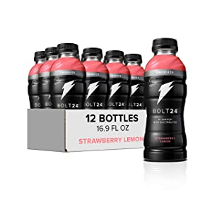 Bolt24 Energize, Fueled by Gatorade, Strawberry Lemon, Hydration with Caffeine and Electrolytes, 16.9 ounces (Pack of 12)