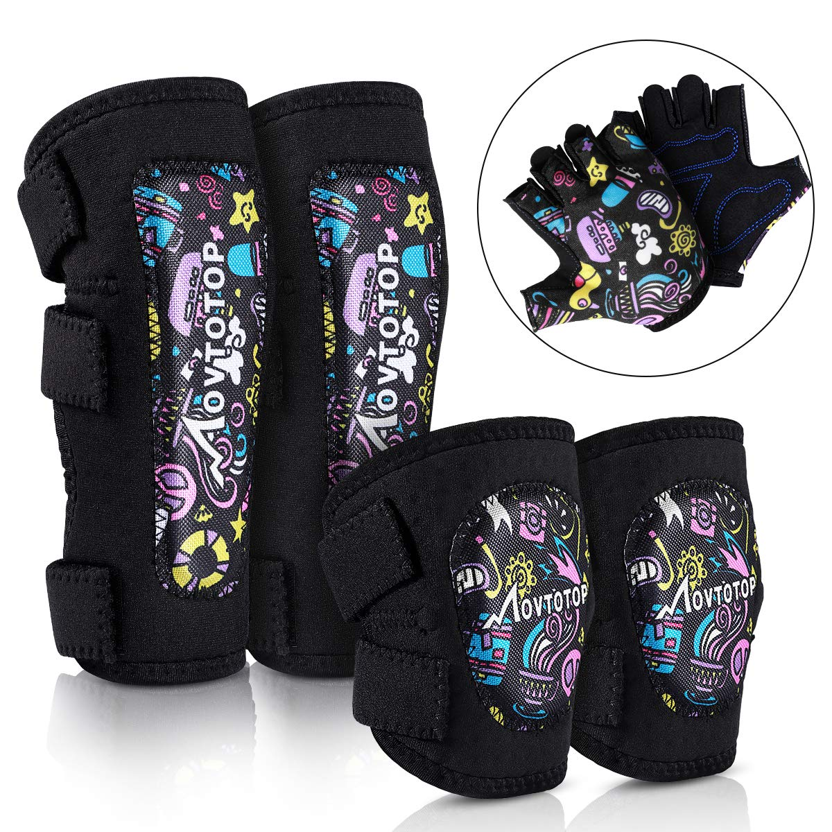 MOVTOTOP Kids Knee and Elbow Pads with Bike Gloves Toddler Protective Gear Set for Skateboard, Roller-Skating, Bike Knee Pads for Boys Girls Children L/XL