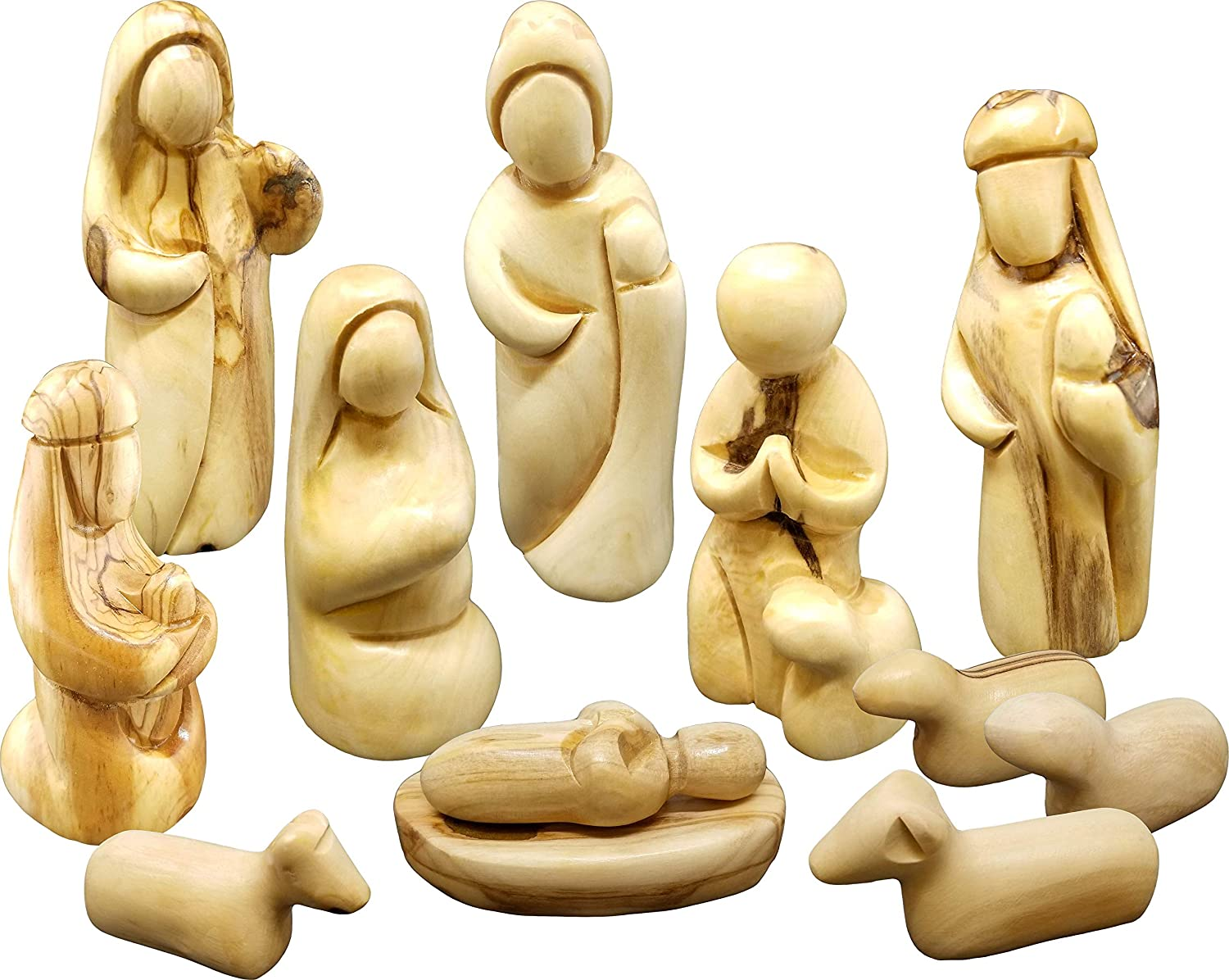 Holy Land Olive Wood Faceless Nativity Set from Israel, 12 Piece Unique Indoor Wooden Nativity Scene, Jesus Mary & Joseph Holy Family in the Manger Figurines, Seasonal Home Décor Accent for Christmas