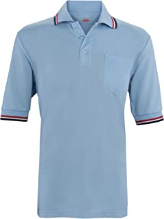 product image for ADAMS USA Short Sleeve Baseball Umpire Shirt - Sized for Chest Protector, Powder Blue/Scarlet
