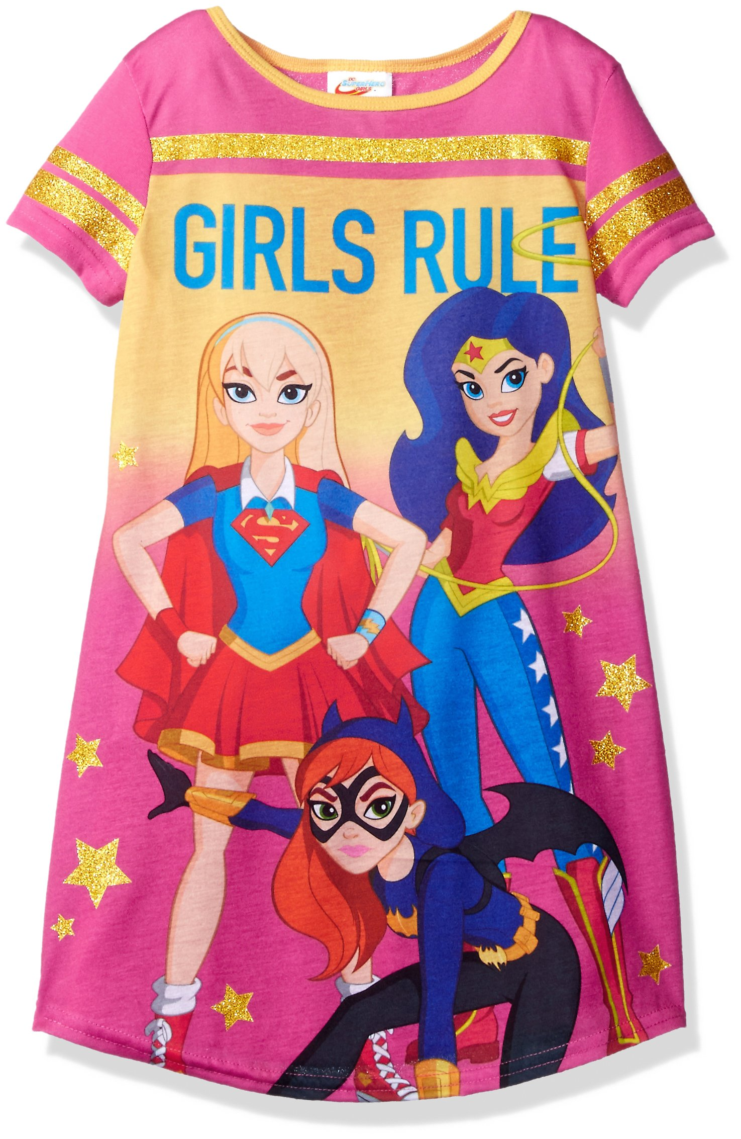 DC Comics Big Girls' Dc Super Heroes Short Sleeve Nightgown Pj, Pink, 4/5