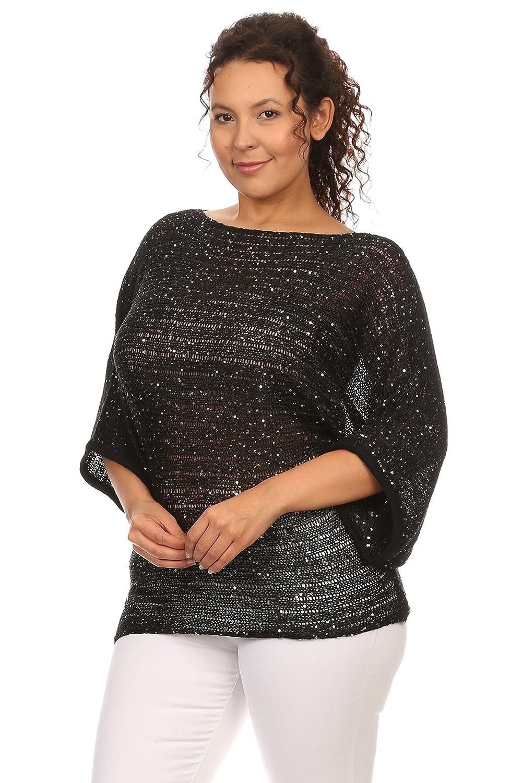 Hadari Women's Plus Size Sequinned Dolman Black Boat Neck Knit Sweater Blouse Top