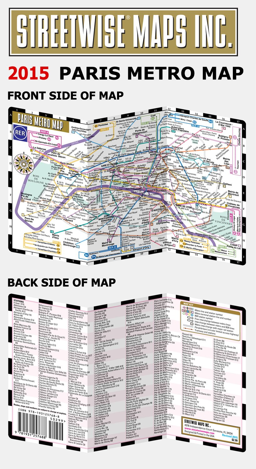 Streetwise Paris Metro Map Laminated Subway Paris Map RER System