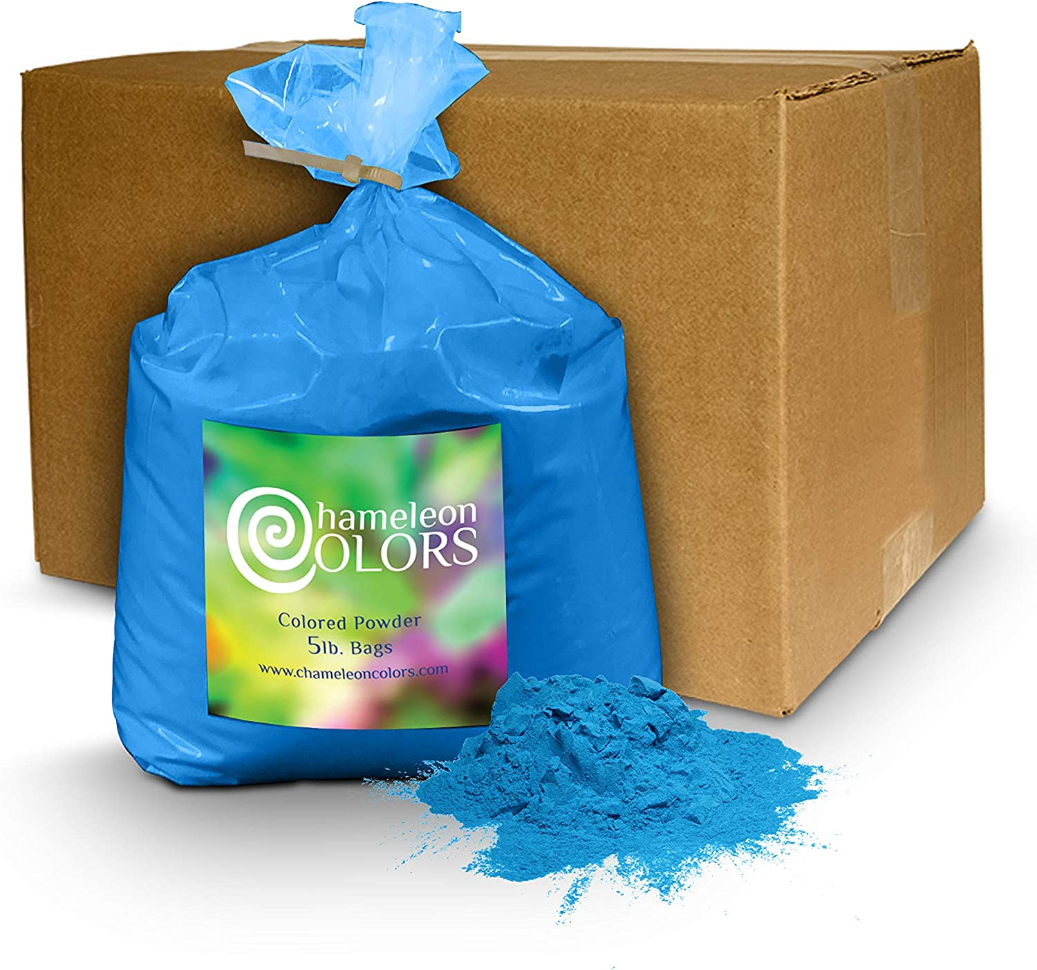 Holi Powder Gender Reveal by Chameleon Colors – 5lb Blue. Same premium, authentic product used for a color races, 5k, etc.
