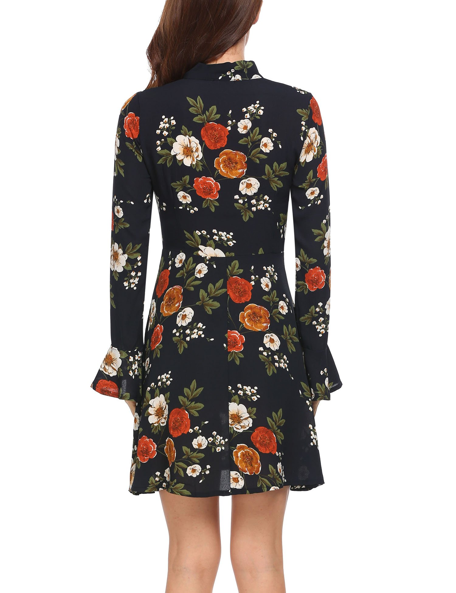 ACEVOG Women's Casual Floral Print Bell Sleeve Fit and Flare Dress,XX-Large,Floral 1 by ACEVOG (Image #4)