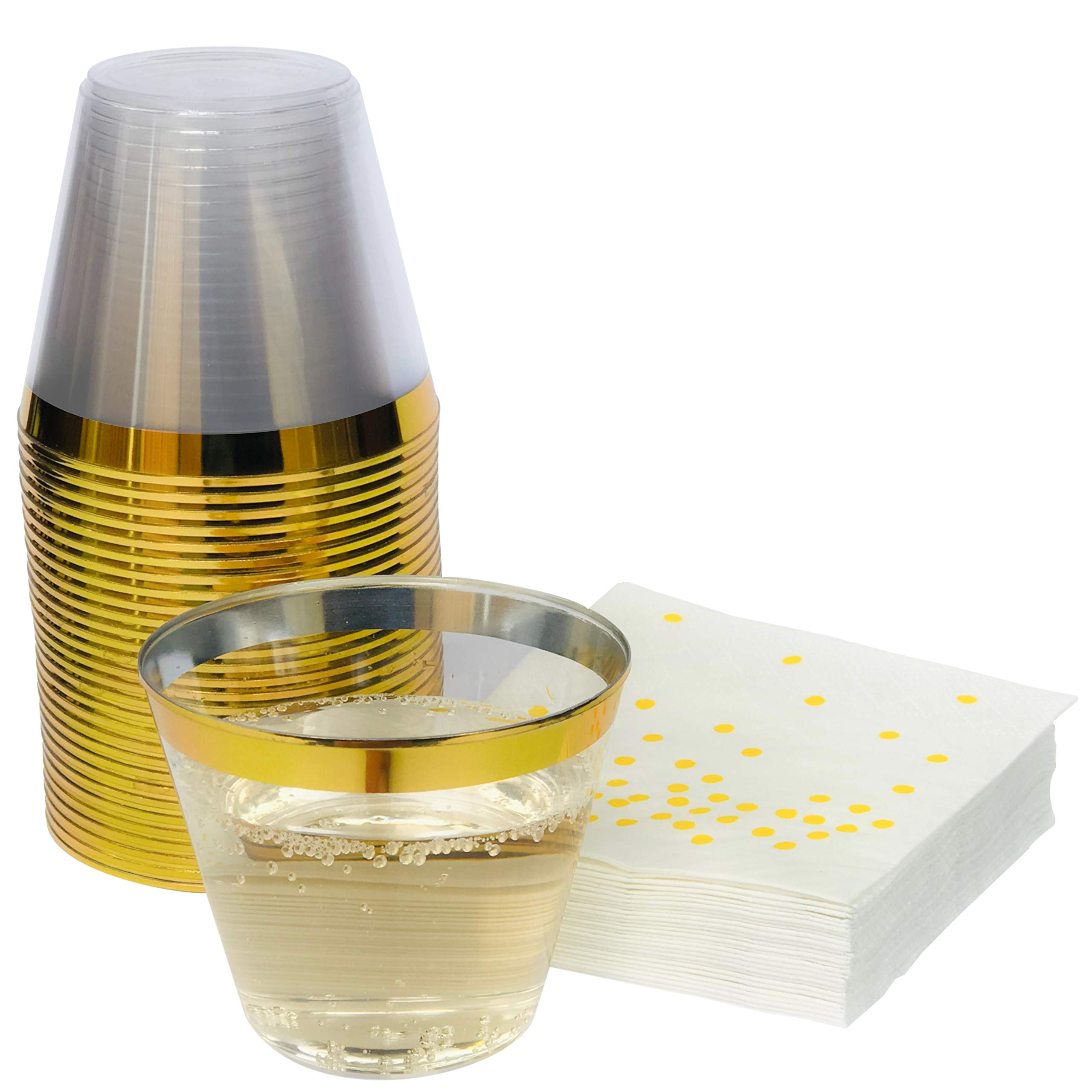 Premium 100 Gold Rimmed 9 oz Clear Plastic Cups + Free 100 Napkins ~ Perfect for Wedding/Engagement/ Cocktails/Dinner/Wine/Birthday Parties ~ Great Value Party Pack 100 Gold Rim Cups + 100 Napkins