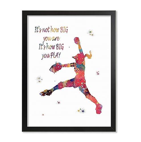 Gift for girl softball set of 6 girls wall art softball wall art softball quotes softball girls room inspirational girls sports art
