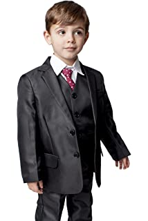 Boys Wedding 3 PC Suit Black Pinstripe Jaspe Formal /& Proms 1-13yrs 7 years