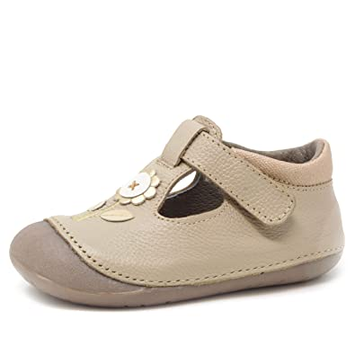 7d2ed8553dda Amazon.com | Wobbly Waddlers Natura Emma Baby Girl Leather Shoes First  Walker Flower T-Strap | Mary Jane