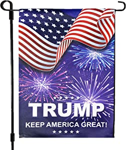 Homissor Donald Trump Fireworks Garden Flags -4th of July Patriotic Double Sided Yard Flag Banner Lawn Outdoor Decoration Election Day 12.5x18 Inch(Fireworks