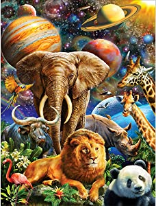 5D Diamond Painting Full Drill Space Zoo, Ginfonr DIY Planets and Animals Paint with Diamonds Cross Stitch Wall Decoration Paintings Mosaic Home Decor 12x16inch (30x40cm)