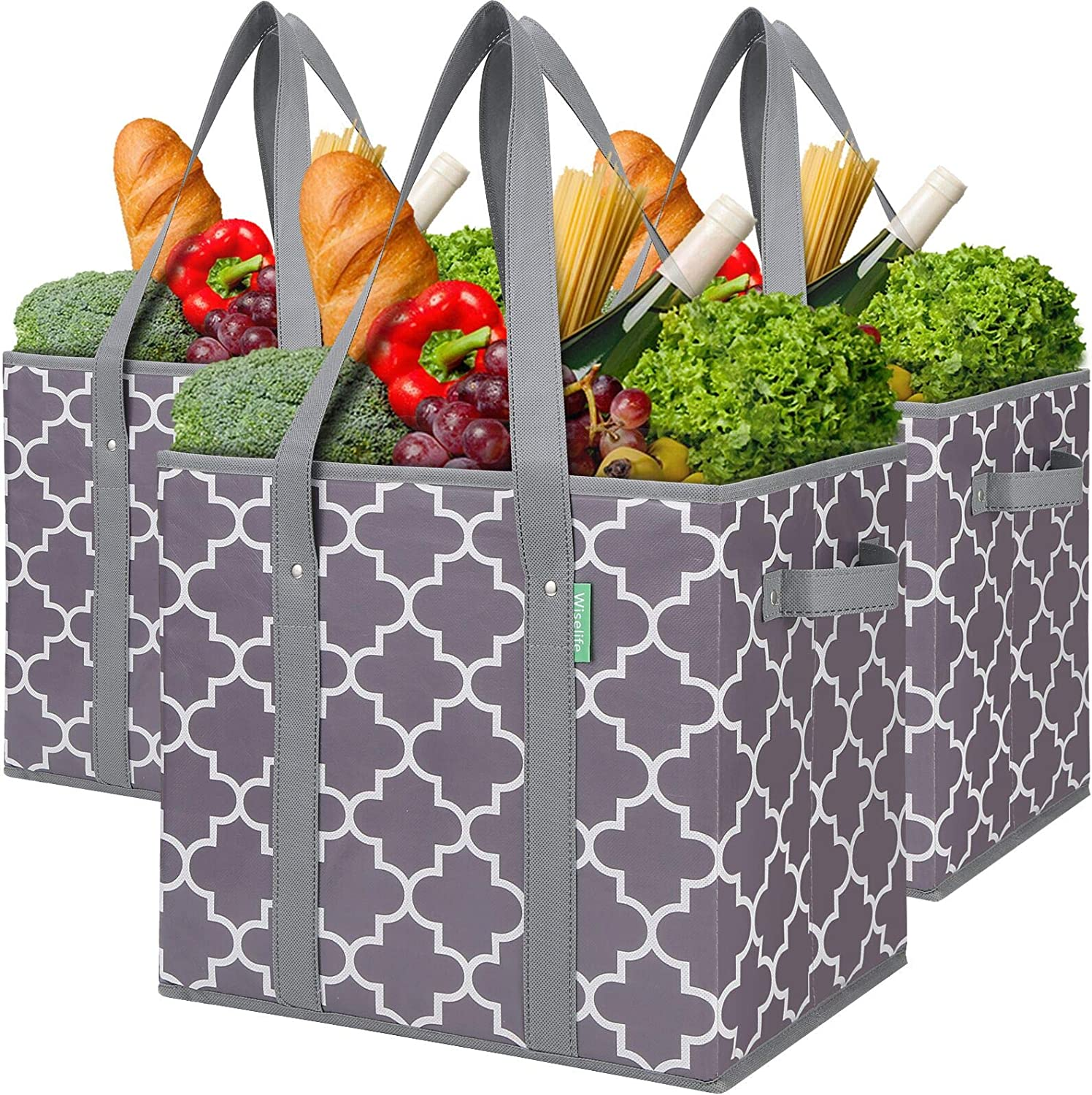 WiseLife 3-Pack Reusable Grocery Bags Foldable Washable Storage Bins Basket Water Resistant Shopping Utility Tote Bag Grey