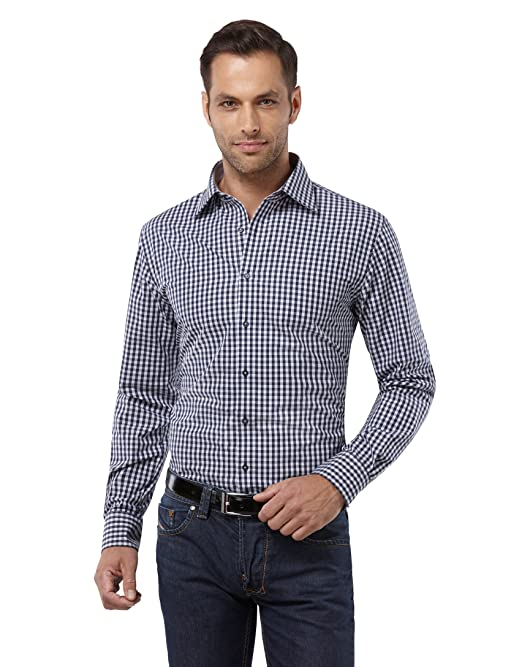 Embraer Herren-Hemd 100% Baumwolle Slim-fit tailliert kariert bügelleicht  New-Kent Kragen - Männer lang-arm Hemden für Anzug mit Krawatte Business  Hochzeit ... fcfb6f1a89