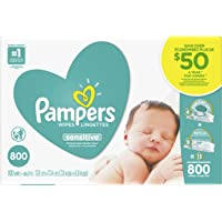 Pampers Baby Wipes Sensitive UNSCENTED 13X Pop-Top and Refill Packs for Dispenser Tub, Hypoallergenic and Dermatologist