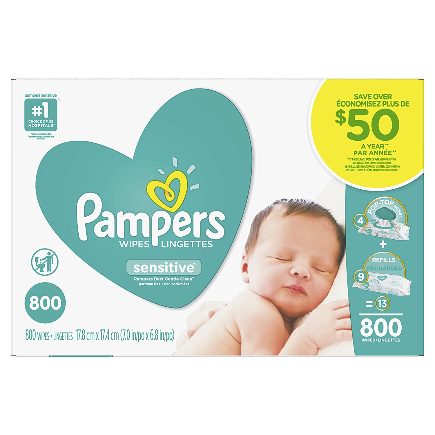 Pampers Baby Wipes Sensitive UNSCENTED 13X Pop-Top and Refill Multipack, 800 Count Procter and Gamble 80287807