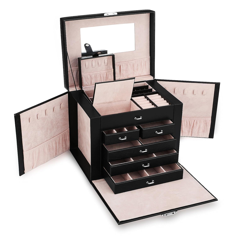 Allewie Jewelry Box Organizer Makeup Storage Travel Case Lockable