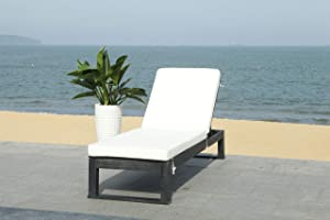 Safavieh PAT7024D Outdoor Collection Solano Natural Wood Cushion Patio Backyard Chaise Lounger Lounge Chair, Black/Beige