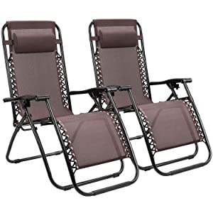 Homall Zero Gravity Chair Adjustable Folding Lawn Lounge Chairs Outdoor Lounge Gravity Chair Camp Reclining Lounge Chair with Pillows for Poolside Backyard and Beach Set of 2 (Brown)