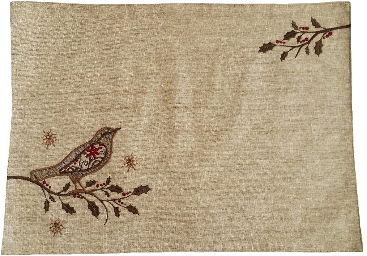 Xia Home Fashions Bird on Twig Embroidery Christmas Placemat, 13 by 18-Inch