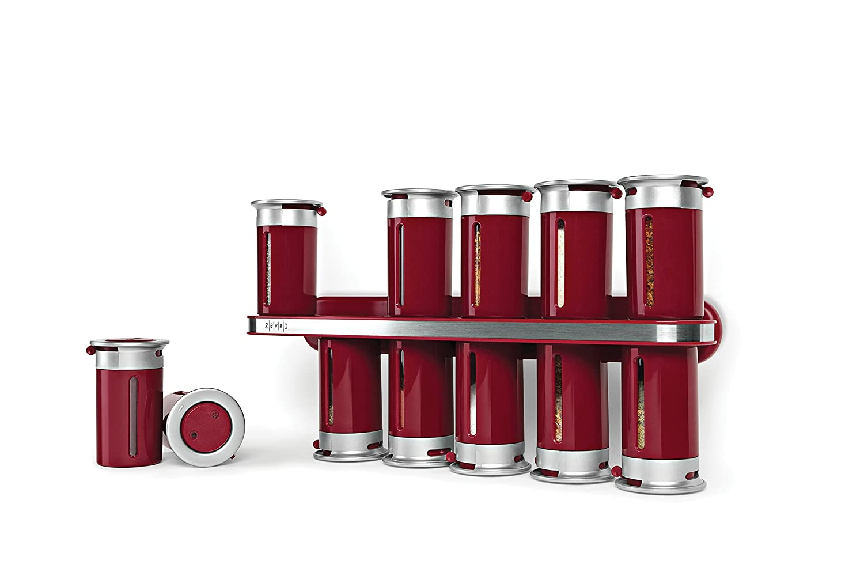 Zevro KCH-06101 Zero Gravity Wall-Mount Magnetic Spice Rack, Black/Silver - Set of 12