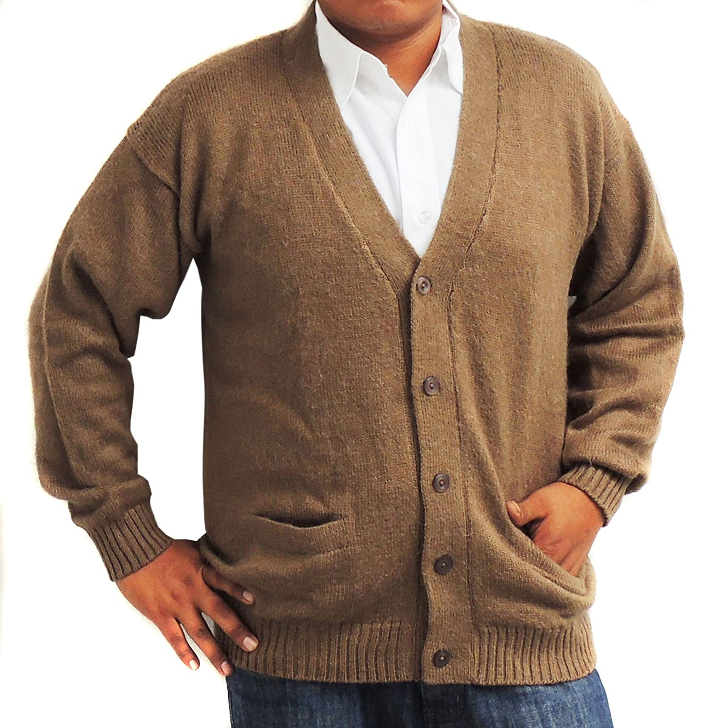 CELITAS DESIGN Cardigan Alpaca and Blend V neck Buttons and pockets olive green