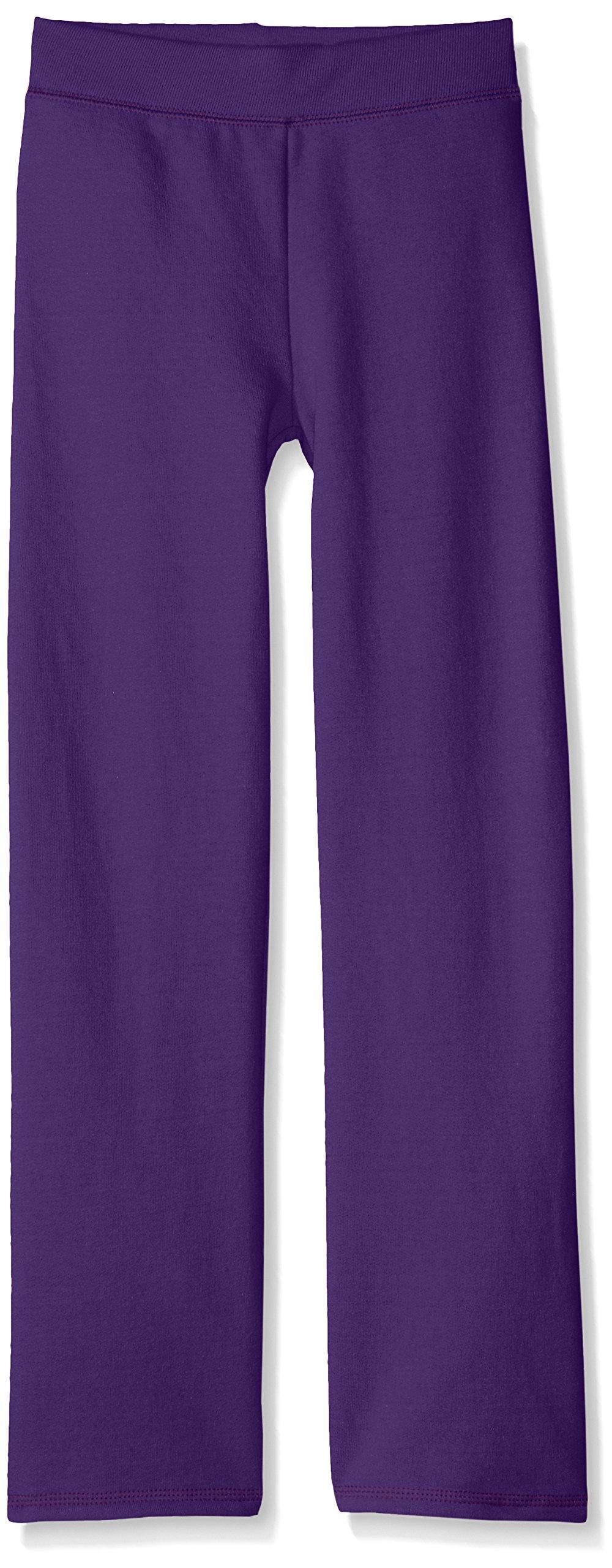 Hanes Girls' Big Girls' ComfortSoft EcoSmart Open Bottom Fleece Sweatpant, Purple Thora, L