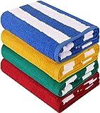 Utopia Towels Cabana Stripe Beach Towels (4 Pack, 76 x 152 cm) - Large Pool Towels - Variety Pack