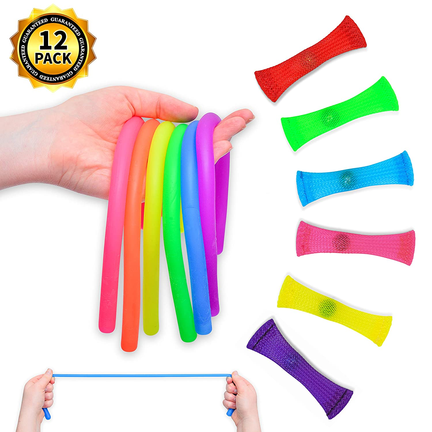 Buzzingbee Sensory Fidget Toy Bundle - Set of 12 Colorful Stretchy Toys for Adults, Teens, & Kids | Tools for Stress Relief, Anxiety, Focus | Work, School, Office Accessories | ADHD, ADD, OCD, Autism